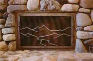Mountains and River Fire Screen
